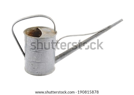 Zinc watering can isolated on white
