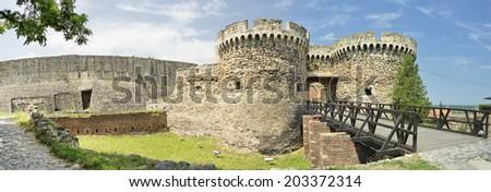 Zindan Gate And Castle Walls, Belgrade Fortress, Serbia - stock photo