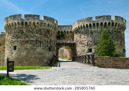Zindan Gate is the middle southeastern gateof Belgrad Fortresss, between two round towers. The Ottoman Empire used towers' basement as dungeon, a zindan, hence the name of the gate - stock photo