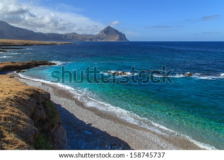 Zingaro Natinal Park - a view of a bay with cristal water, Sicily, Italy