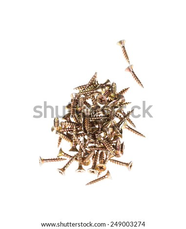 Zinked and anodized screws. Close up. Isolated on a white background. - stock photo