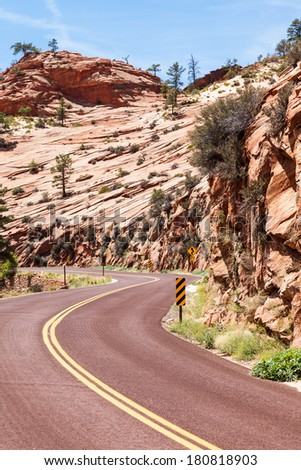 Zion National Park. A road in the middle of the nature