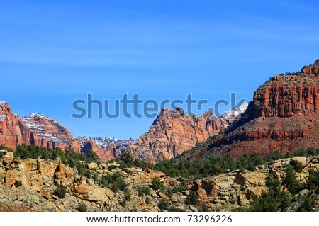 Zion National Park - Coalpits Wash Trail in winter (Utah, Usa) - stock photo