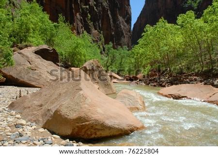 Zion National Park River in Utah - stock photo