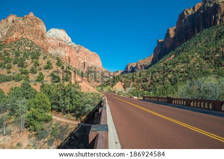 ZIon National Park Road. Great Adventure Road in Zion. - stock photo