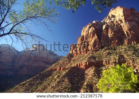 Zion National Park, Utah, Near Springdale, USA with Great White Throne in background