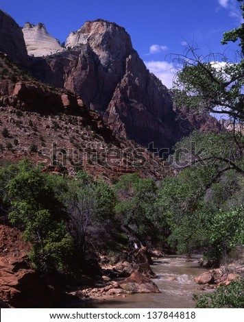 Zion National Park, Utah reveals rocks formed by sand dunes and sea bottoms./Zion/Zion National Park, this place of desert and rock formations, was created by water, the Virgin River. - stock photo