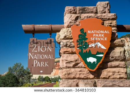 Zion National Park, Utah - September 20, 2015: View of the entrance sign in Zion National Park.