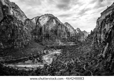 Zion National Park Valley in black and white.  Utah, USA.