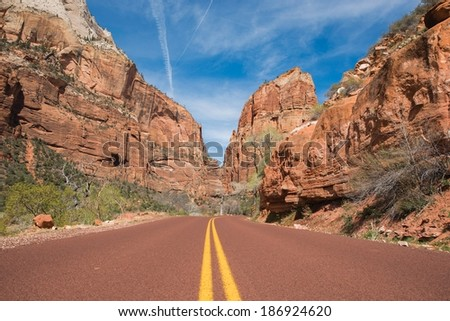 Zion Utah Road. Southern Utah State, Zion National Park. - stock photo