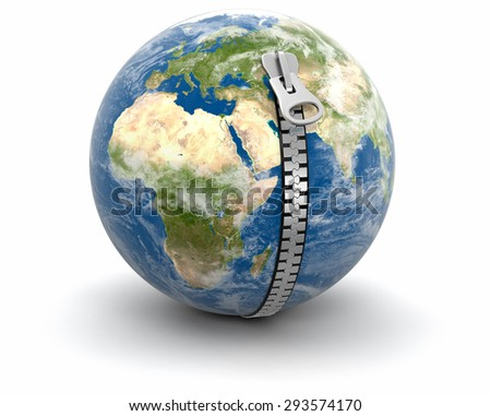 Zip and Globe (clipping path included) Elements of this image furnished by NASA