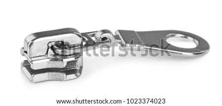 zip fastener close-up on isolated white background