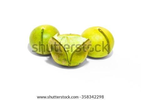 Zip lock lemon open to see the inside - stock photo