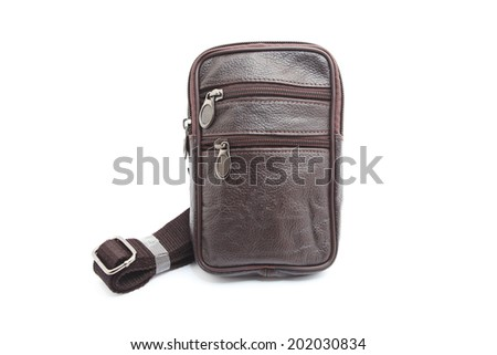 Zip on Black male leather bag with mobile phone holder  Isolated on white.