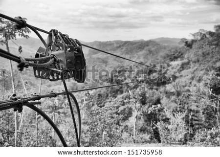 Zipline above the jungle canopy in Costa Rica - stock photo