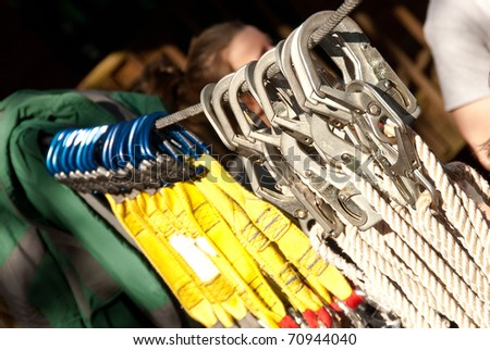 Zipline Safety Equipment - stock photo