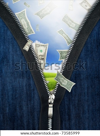 Zipper and falling money. Luck in business concept - stock photo