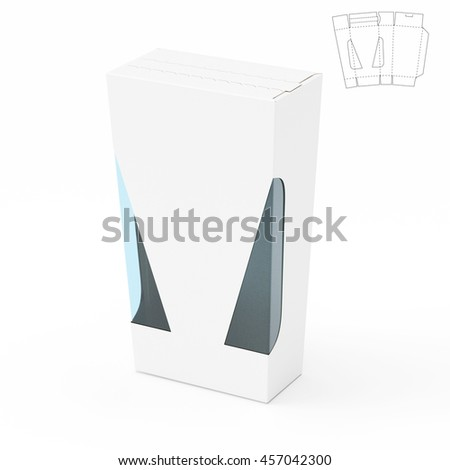 Zipper Angled Retail Box with Blueprint Template 3D Rendering