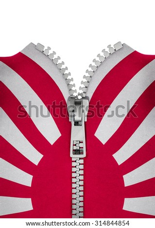 Zippered kamikaze flag / 3D render of wartime Japanese flag split with zipper - stock photo