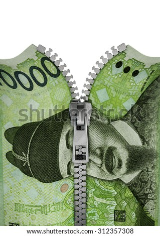 Zippered South Korean ten thousand won note / 3D render of ten thousand won note split with zipper - stock photo