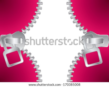 Zippers closing background design with white space for text - stock photo