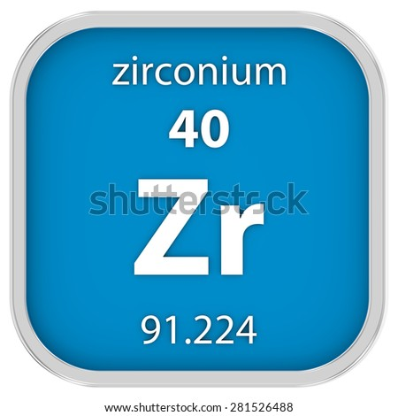 Zirconium material on the periodic table. Part of a series. - stock photo