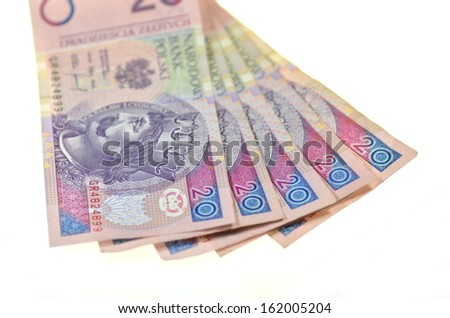 zloty banknotes from poland - stock photo