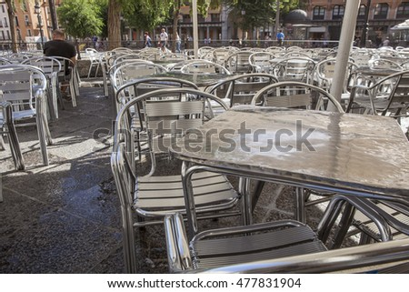 Zocodover Square summer terrace full of tables and chairs, Toledo, Spain