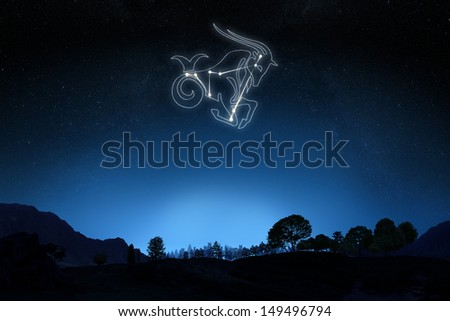 Zodiac Capricorn with a star and symbol outline on a gradient sky background. Part of a Zodiac series. - stock photo