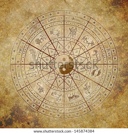 Zodiac circle with Yin-Yang symbol in the center on grunge background. A blend between western and asian wisdom. - stock photo