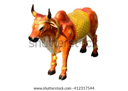Zodiac Concept: The Year of the Cow Statue isolated with white background