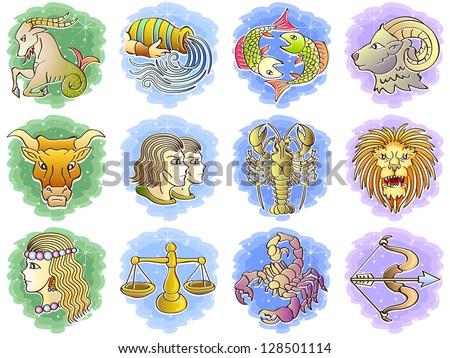Zodiac Icon Set. Raster version, vector file also included in the portfolio. - stock photo