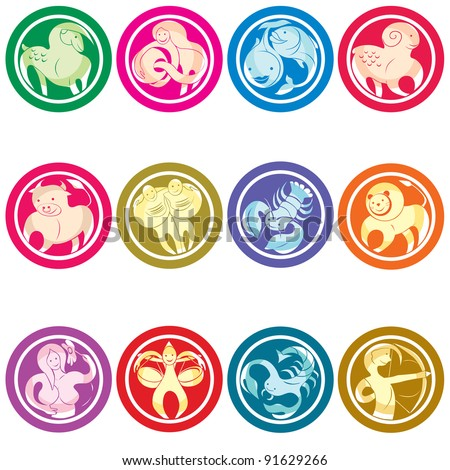 Zodiac icons set, isolated object against white background - stock photo