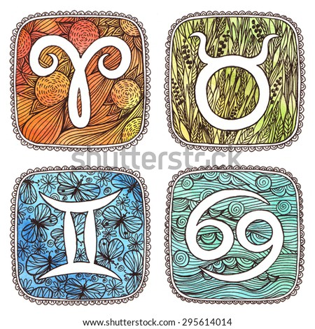 Zodiac icons. Set. Watercolor. Aries, Taurus, Gemini, Cancer. Horoscope collection. - stock photo