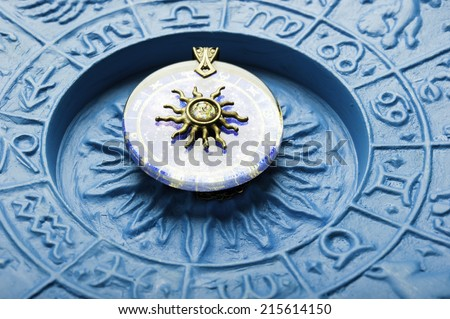zodiac plate with astrology symbols - stock photo