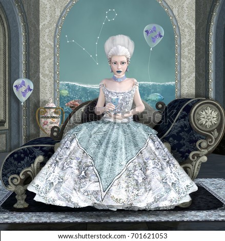 Zodiac Series Inspired By Marie Antoinette Stock Illustration ...