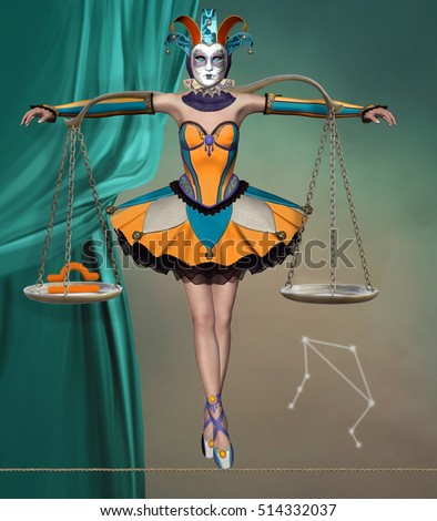 Zodiac series - Libra like a beautiful harlequin with balance on her shoulders - 3D and digital painted illustration