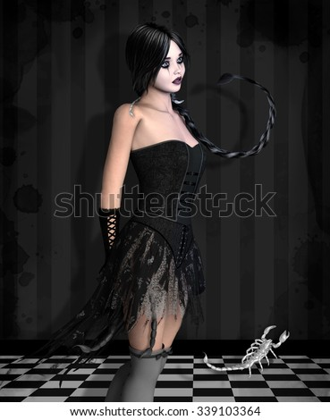 Zodiac series - Scorpio like a beautiful dark girl - stock photo