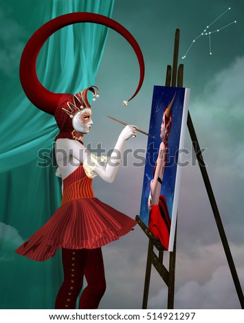 Zodiac series - Taurus like a beautiful jester that paints a canvas - 3D and digital painted illustration