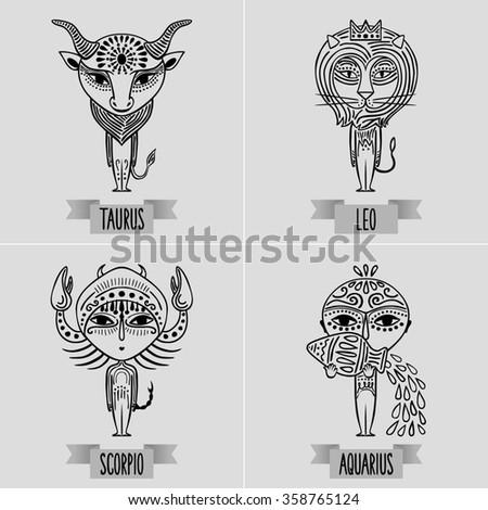 zodiac set of fixed signs - decorative minimalist drawing of taurus, leo, scorpio, aquarius - stock photo
