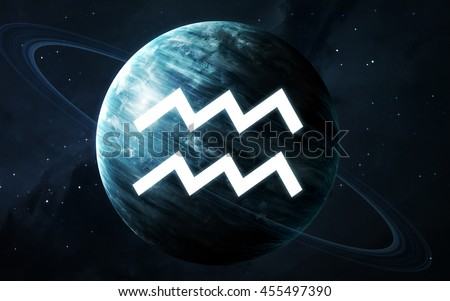 Zodiac sign - Aquarius. Cool astrologic infographics. Elements of this image furnished by NASA - stock photo