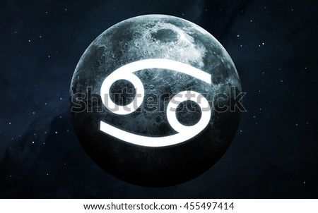 Zodiac sign - Cancer. Cool astrologic infographics. Elements of this image furnished by NASA - stock photo