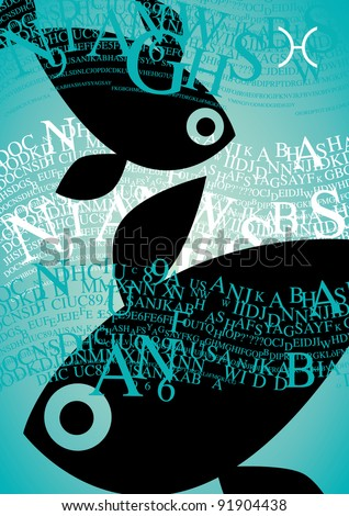 zodiac sign pisces - stock photo