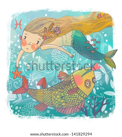 Zodiac sign - Pisces. Part of a large colorful cartoon calendar. Cute cartoon mermaid with beautiful fish in the sea   - stock photo