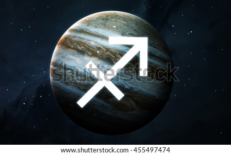 Zodiac sign - Sagittarius. Cool astrologic infographics. Elements of this image furnished by NASA - stock photo