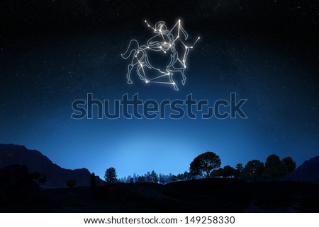 Zodiac Sign Sagittarius with a star and symbol outline on a gradient sky background. Part of a Zodiac series. - stock photo