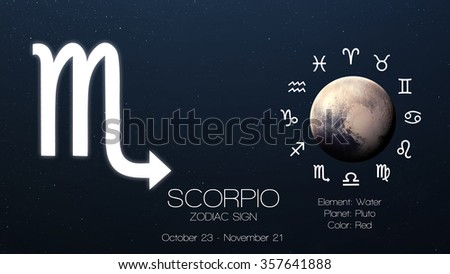 Zodiac sign - Scorpio. Cool astrologic infographics. Elements of this image furnished by NASA - stock photo