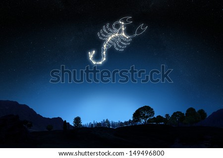 Zodiac Sign Scorpio with a star and symbol outline on a gradient sky background. Part of a Zodiac series. - stock photo