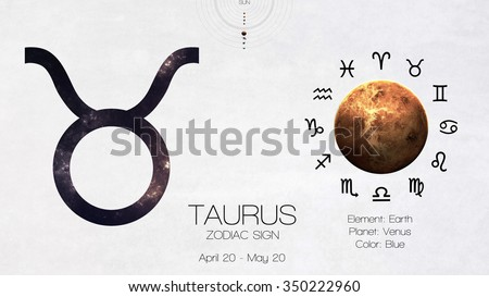 Zodiac sign - Taurus. Cool astrologic infographics. Elements of this image furnished by NASA - stock photo
