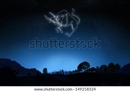 Zodiac Sign Taurus with a star and symbol outline on a gradient sky background. Part of a Zodiac series. - stock photo